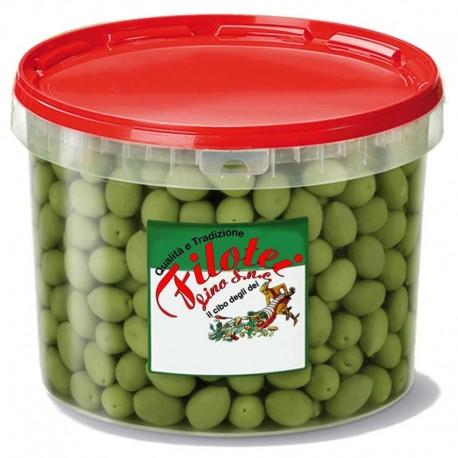 Secchiello di Olive Verdi Denocciolate Filotei da 3100gr (1800gr sgocciolato)