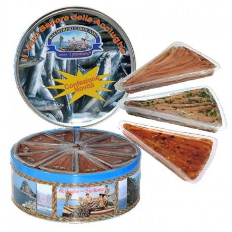 Filets d'anchois à l'huile de tournesol 3 saveurs assorties - 30 paquets de 80gr