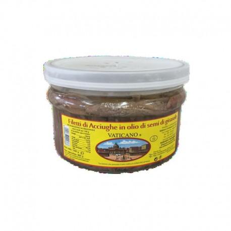 Vatikanische Sardellenfilets in Sonnenblumenöl - 1,5 kg Packung