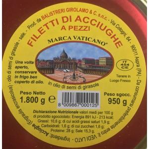 Filets d'Anchois en Morceaux à l'Huile de Tournesol - Pot de 1,8 kg