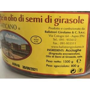 Filets d'anchois du Vatican à l'huile de tournesol - paquet de 1,5 kg