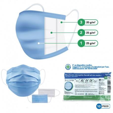 10 masques chirurgicaux de protection pour Covid19